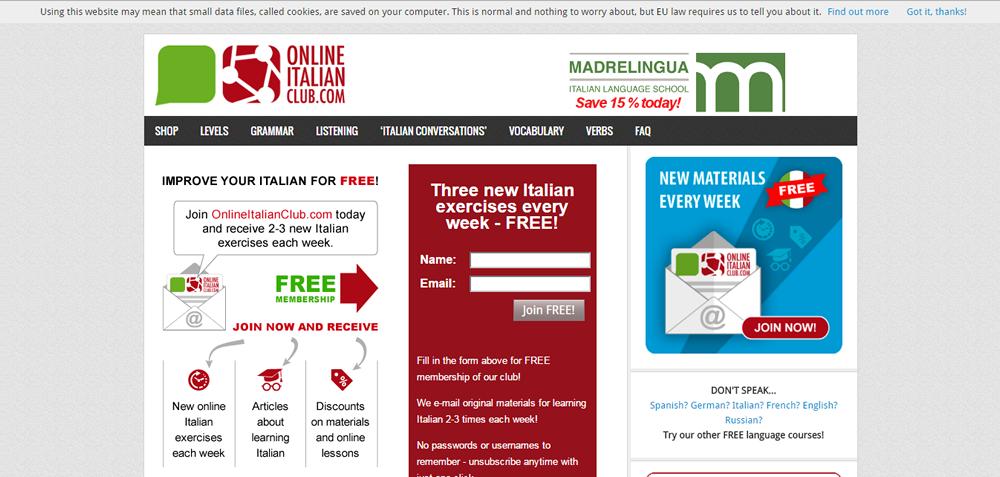 página web italiano desnudo